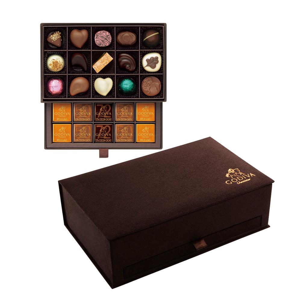 godiva歌帝梵巧克力优选咖色礼盒30颗装