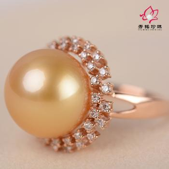 秀铭珍珠之正圆南洋金珠戒指-上海农商银行网上商城