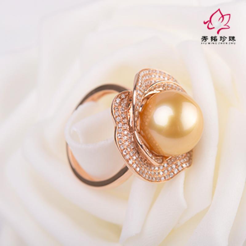 秀铭珍珠之南洋金珠大葵花形镶钻戒指-上海农商银行图片