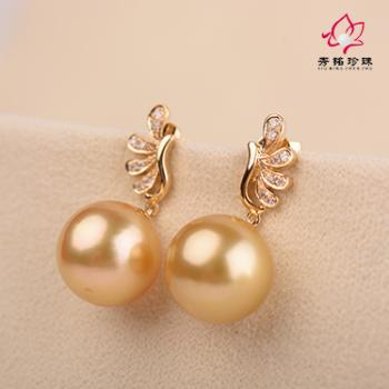秀铭珍珠之18ky南洋金珠耳环